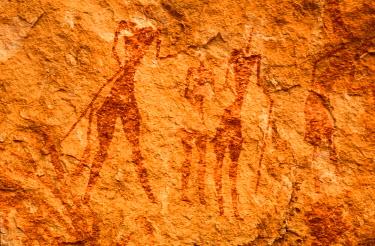 HMS0057069 Algeria, Sahara, rupestrian paintings in the Tassili N'Ajjer
