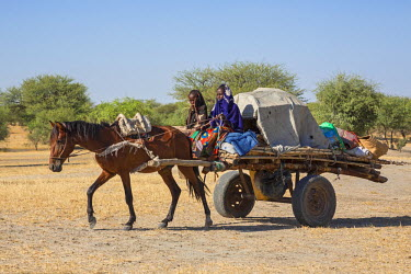 CHA0012 Chad, Kanem, Bahr el Ghazal, Sahel. Two young Kanembu women move house with a horse and cart.