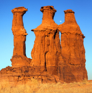 CHA0070 Chad, Elikeo, Ennedi, Sahara. Weathered sandstone columns with a full moon.