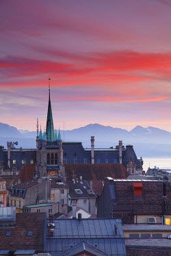 SWI6974AW St Francois Church and city skyline at dusk, Lausanne, Vaud, Switzerland