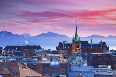 SWI6975AW St Francois Church and city skyline at sunset, Lausanne, Vaud, Switzerland