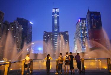 CH10072AW CITIC Plaza at dusk, Tianhe, Guangzhou, Guangdong, China