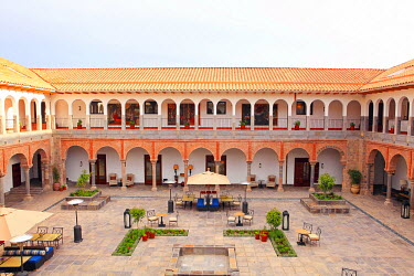 PER33694AW South America, Peru, Cusco, the Marriott hotel, which is housed in a former Spanish convent, showing the view of one of the internal courtyard from a room in the colonial cloisters