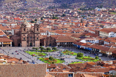 PER33707AW South America, Peru, Cusco. A view of Cusco from Sacsayhuaman showing the Plaza de Armas and the Jesuit church of the Company of Jesus (Compania de Jesus) in the UNESCO World Heritage listed former In...