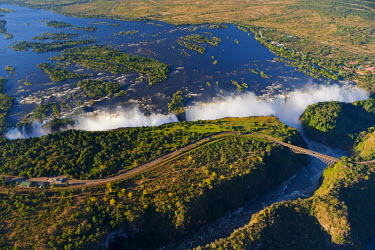 ZIM2535AW Zimbabwe, Victoria Falls. An aerial view from above the Falls.