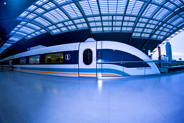 AS07MGL0074 The Maglev train, the fastest train in the world with a maximum speed of 430 km an hour, from Pudong International Airport to the Long Yang Road subway station, Shanghai, China, Asia