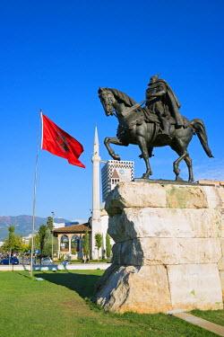 ALB0004 Europe, Albania, Tirana, equestrian statue of Skanderbeg