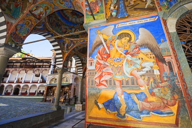 BUL0063 Europe, Bulgaria, Rila Monastery, frescoes by Zahari Zograf, Nativity Church, Unesco World Heritage Site