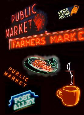 US48JWI4159 USA, Washington State, Seattle, Pike Place Market signs