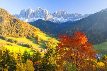 IT09258 Autumn, St. Magdalena village, Geisler Spitzen (3060m), Val di Funes, Dolomites mountains, Trentino-Alto Adige, South Tirol, Italy