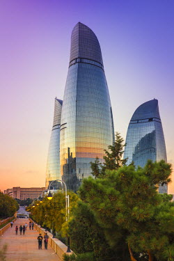 AZ01042 Azerbaijan, Baku, View of Sahidlar Xiyabani - Martyr's Lane and Flame Towers
