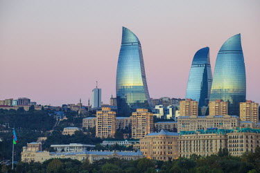 AZ01047 Azerbaijan, Baku, View of Flame Towers at dawn