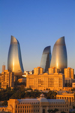 AZ01070 Azerbaijan, Baku, Flame Towers at sunrise