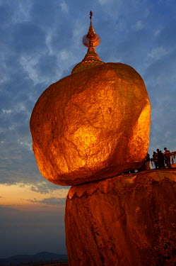 Myanmar, Burma, Mon State, Mt Kyaiktiyo. Mt Kyaiktiyo, or Golden Rock as it is popularly known, due to the continual application of gold leaf by male pilgrims, is one of Burma's most celebrated pilgri...