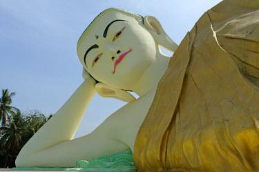MYA1515 Myanmar, Burma, Bago Region, Bago. The imposing Mya Tha Lyaung Buddha, a statue of a reclining Buddha, lies in a compound adjacent to the famous Shwethalyaung Buddha statue.