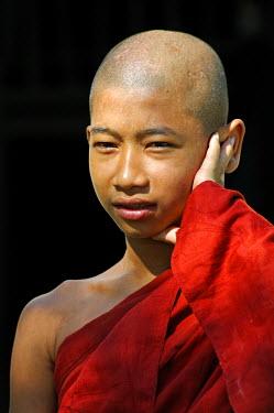MYA1582 Myanmar, Burma, Rakhine State, Sittwe. A young monk at Shwezedi Kyaung.
