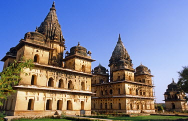 IND7060 Asia, India, Madhya Pradesh, Orchha.  Chhatris, cenotaphs to Orchha's rulers, located by the Betwa River.