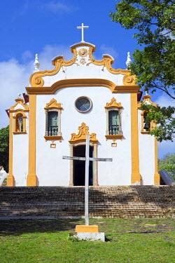 BRA1807AW South America, Brazil, Pernambuco, Fernando de Noronha Island, the facade of the church of Our Lady of Remedies