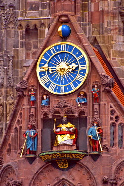 EU10MGL0197 Nuremberg, Germany, Church of Our Lady, Frauenkirche, Market Square (Hauptmarkt), Gothic Church, Clock Tower
