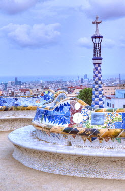 EU27RTI0039 Europe, Spain, Catalonia, Barcelona, Park Guell Terrace