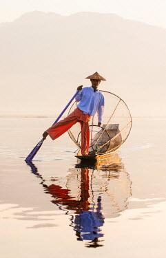 MYA1589AW An Intha fisherman on Inle Lake, Burma/ Myanmar