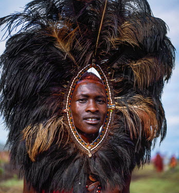 KEN8091 Kenya, Kilgoris County, Oloololo.  A Maasai warrior wears a headdress made with ostrich feathers during an eunoto ceremony.