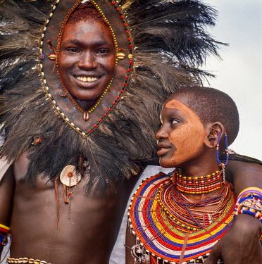KEN8093 Kenya, Kilgoris County, Oloololo.  A Maasai warrior and his girlfriend during an eunoto ceremony.
