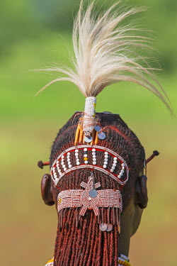 TZ3321 Tanzania; Lake Natron; Shompole.  The traditional hairstyle of a Maasai warrior.