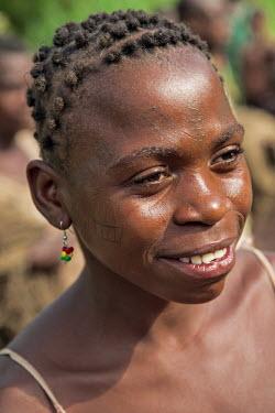 CAR0012 Central African Republic, Bayanga.  A Ba�Aka woman with facial tattoos.