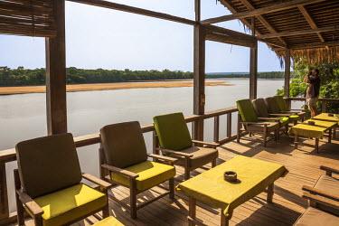 CAR0097 Central African Republic, Bayanga, Dzanga-Sangha, Sangha River.  The veranda of Doli Lodge overlooking the Sangha River.