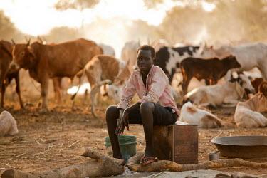 SSU0009AW Northern Bahr el Ghazal, South Sudan. Dawn at a Cattle camp.