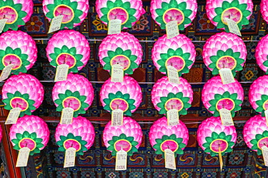 KR01184 Decorative lanterns hanging inside Bongeunsa Temple in the Gangnam District of Seoul, South Korea