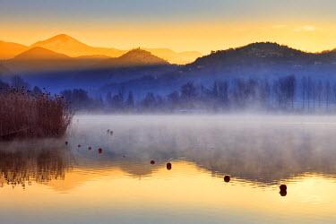 ITA2023AW Italy, Umbria, Terni district, piediluco lake. Piediluco village and Labro village at dawn.