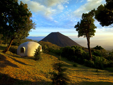 EL01053 El Salvador, Cerro Verde National Park, Volcano National Park, Izalco Volcano, Once Referred To As The 'Lighthouse Of The Pacific', Campo Bello, Igloo Style Cabinas For Overnight Sleeping