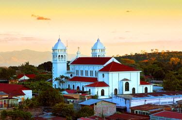 EL01066 Juayua, El Salvador, Iglesia Santa Lucia, Church Of The Black Christ Of Juayua, Route Of Flowers, Ruta De Las Flores, Popular Tourist Town, Sunset, Department Of Sonsonate