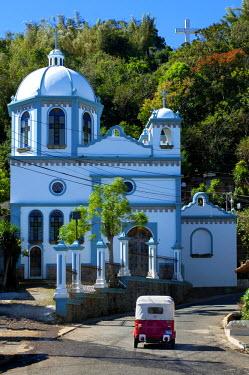 EL01075 Ataco, El Salvador, Iglesia El Calvario, Three-Wheeled Taxi, Department Of Ahuachapan, Route Of Flowers, Rutas De Las Flores