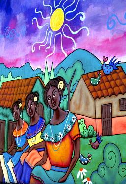 EL01077 Ataco, El Salvador, Wall Mural, Traditional Village Scene, Famous For Its Wall Murals, Route Of Flowers, Rutas De Las Flores, Department Of Ahuachapan