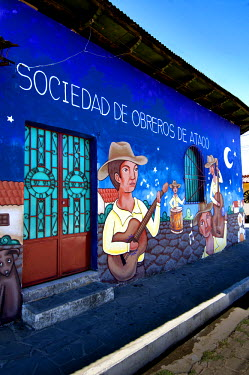 EL01078 Ataco, El Salvador, Wall Mural, 'Society Of Labor Of Ataco' Facade, Famous For Its Wall Murals, Route Of Flowers, Rutas De Las Flores, Department Of Ahuachapan