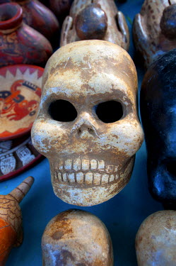 EL01082 Tazumal Mayan Ruins, Located In Chalchuapa, El Salvador, Souvenir Stand Skull, Pre-Colombian Archeological Site, Most Important And Best Preserved Mayan Ruins In El Salvador, Tazumal Translates To 'Th...