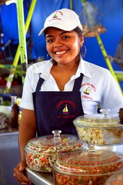 EL01102 La Libertad, El Salvador, Ceviche Vendor, Fish Market, Pier, Pacific Ocean, Puerto De La Libertad, Port Of Freedom, Department Of Libertad