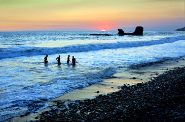 EL01109 Playa El Tunco, El Salvador, Pacific Ocean Beach, Popular With Surfers, Great Waves, Named After The Rock Formation, Tunco Translates To Pig Or Swine, The Rock Resembles A Pig Floating On Its Back, Su...