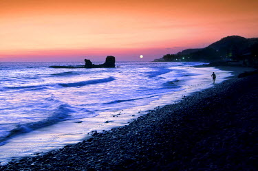 EL01110 Playa El Tunco, El Salvador, Pacific Ocean Beach, Popular With Surfers, Great Waves, Named After The Rock Formation, Tunco Translates To Pig Or Swine, The Rock Resembles A Pig Floating On Its Back, Du...