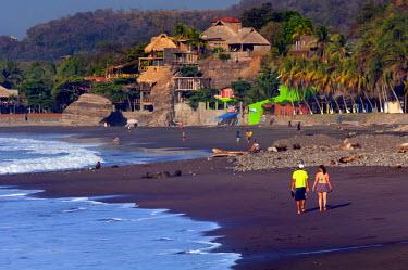 EL01111 Playa El Tunco, El Salvador, Pacific Ocean Beach, Popular With Surfers, Great Waves, Beach Resorts