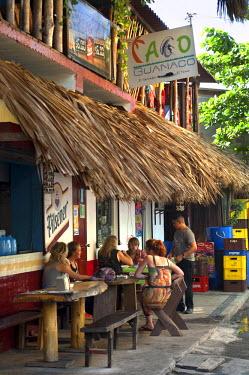 EL01114 Playa El Tunco, El Salvador, Downtown Dining, Pacific Ocean Beach Resort, Popular With Surfers