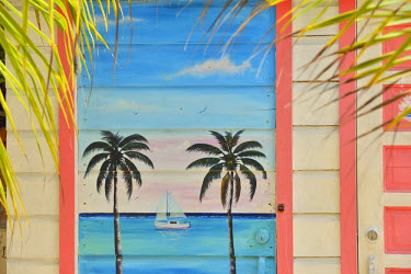 BLZ0020AW Painted Door in San Pedro, Ambergris Caye, Belize, Central America