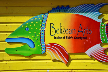 BLZ0025AW Colourful Sign at San Pedro, Ambergris Caye, Caribbean, Central America