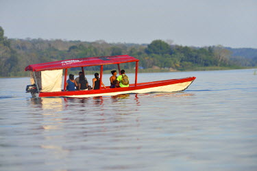 GUA1142AW Boat near City of Flores, Peten, Mundo Maya, Guatemala,,Central America