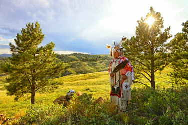 USA8681AW Lakota Indian in the Black Hills, Western South Dakota, USA. MR
