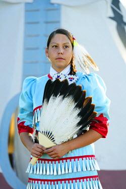 USA8689AW Lakota Woman in full regalia, Custer County, Black Hills National Forest, Western South Dakota, USA. MR