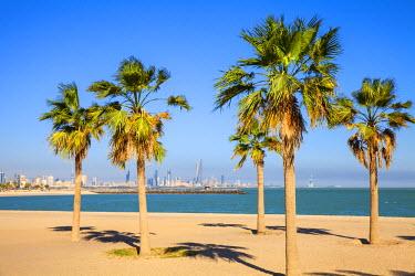 KW01077 Kuwait, Kuwait City, Salmiya, Palm beach with city skyline in background